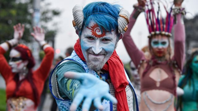 Performer of the Beltan Fire Festival troupe at the annual celebration on Calton Hill, in Edinburgh, Scotland, in 2019.