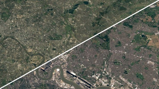 1984년과 2020년 영국 런던 동부의 사진이다. 푸른 공간이 많이 사라졌다는 점을 알 수 있다