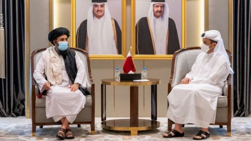 Qatar's Deputy Prime Minister and Foreign Minister, Mohammed bin Abdul Rahman Al Thani, meets Mullah Abdul Ghani Baradar, head of the Taliban's political cabinet, in Doha, Qatar (August 17, 2021)