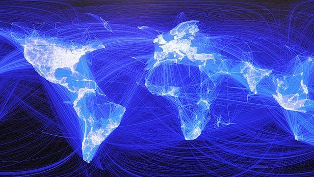 Mapa del mundo y sus conexiones a internet