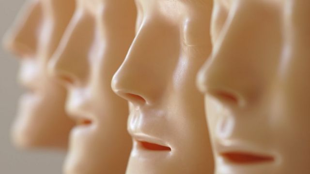 rubber masks with human faces