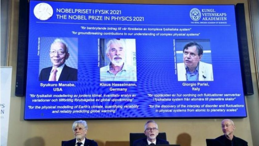 Trio of scientists announced as winner of this year's Nobel Prize in Physics at a press conference in Stockholm, Sweden