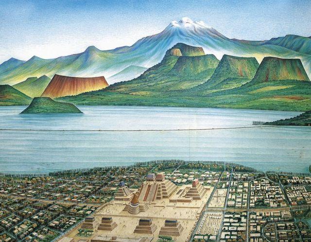 """Este dibujo muestra una vista panorámica de Tenochtitlan y del llamado """"Valle de México""""."""