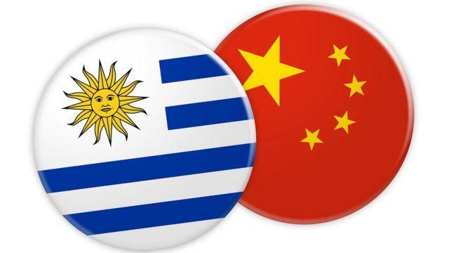 乌拉圭与中国国旗按钮图案