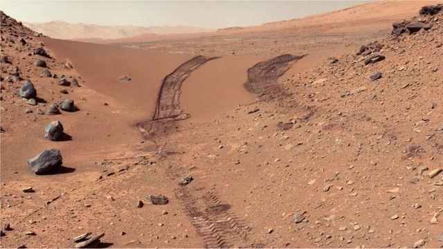 Traços de uma missão de exploração em Marte