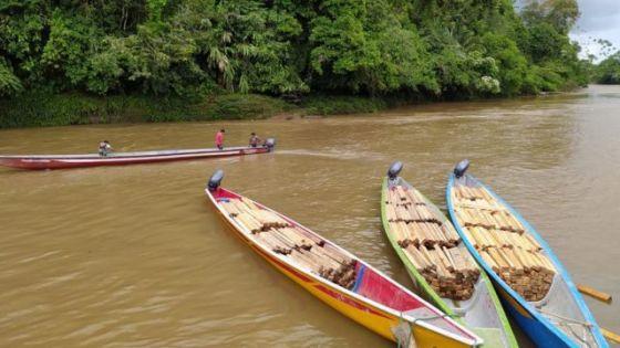 Pedaços de madeira balsa em barcos