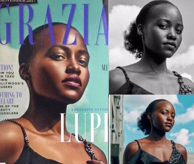 Image of Grazia front cover plus two other images of Lupito Nyong'o