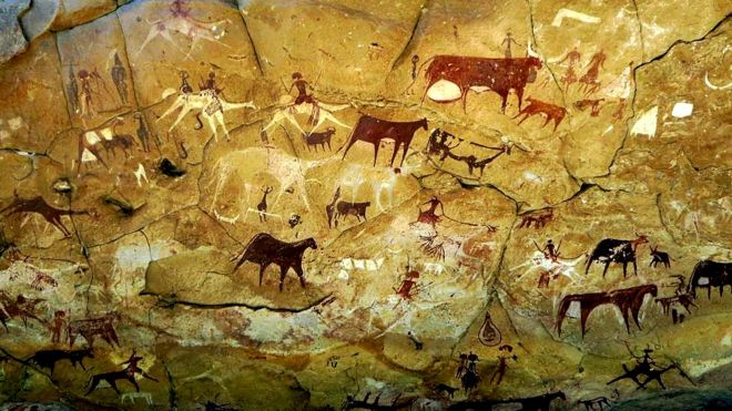 Depicting of a pastoral scene in a cave painting in the Ennedi desert