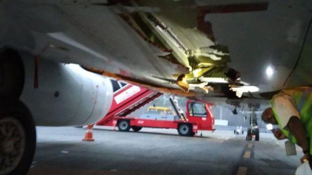 The damaged plane