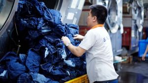A worker at Saitex's jeans factory in Vietnam
