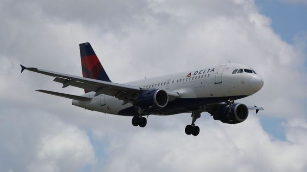 Delta Air Lines plane in the air