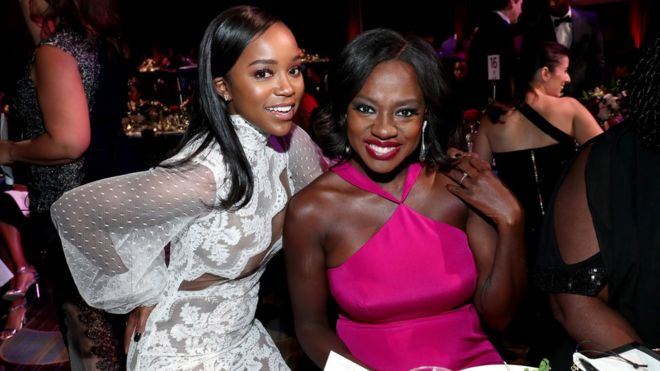 Aja Naomi King and Viola Davis at the Black Women in Hollywood Awards