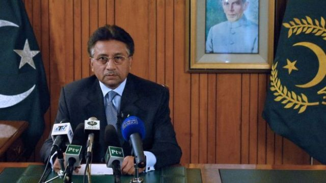 This hand out picture released by Pakistan's Press Information Department shows Pakistani President Pervez Musharraf addressing to the nation in Islamabad on August 18, 2008