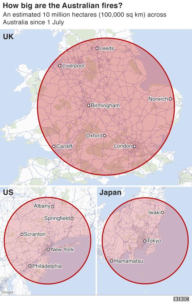 火災が英国、米国、日本の地理と比較してどれだけ大きいかを示すインフォグラフィック