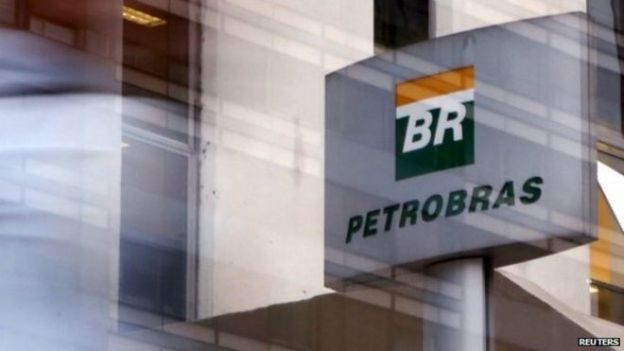 The Petrobras sign is seen outside the company's headquarters in Sao Paolo