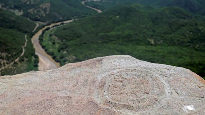 Pre-Hispanic ruins dating from the classical period of the Zapoteca culture on Cerro de la Pena, in the Huehuepiaxtla community of the municipality of Axutla, in the state of Puebla, Mexico, 19 July 202