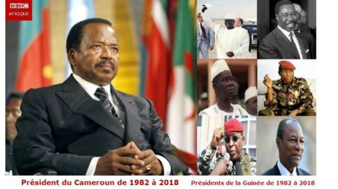 Paul Biya was the counterpart of six Guinean presidents; Sékou Touré, Paul Béavogui, Lansana Conte, Moussa Dadis Camara, Sékouba Konaté and Alpha Condé.