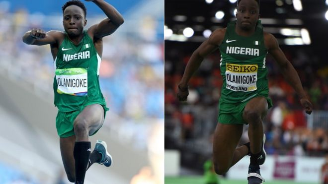 Triple jumper Nigeria's Olu Olamigoke competes during Rio Olympics, left, and Triple Jump final at the IAAF World Indoor athletic championships in Portland