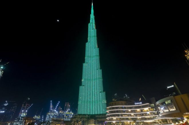 The Burj Khalifa in Dubai joined in celebrations