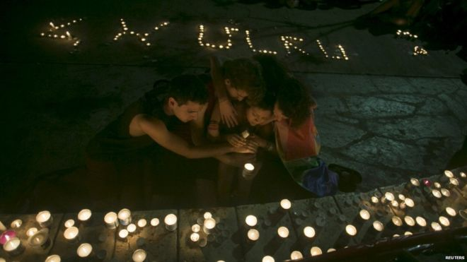 A candlelight vigil for Shira Banki in Tel Aviv on Sunday 2 Aug