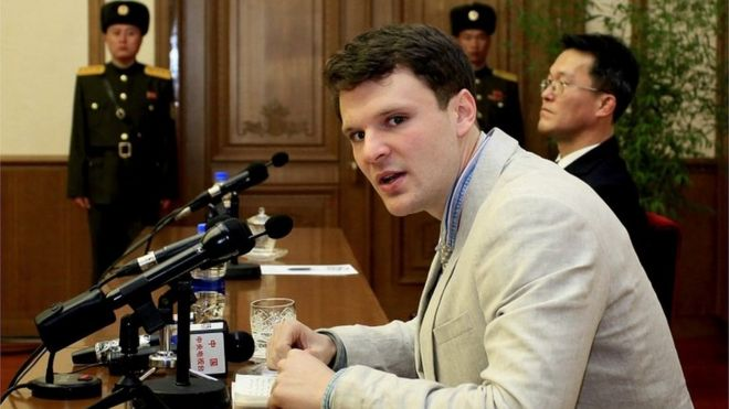 Otto Warmbier at a press conference in Pyongyang (29 February 2016)