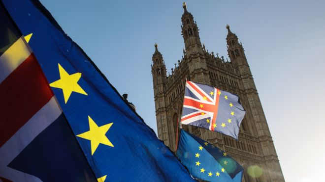 Union Jack and EU flags at Westminster