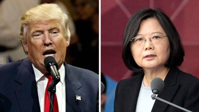 US President-elect Donald Trump (L) and Taiwan's President Tsai Ing-wen (R)