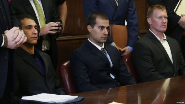 (L-R) Andrew Rossig, Marco Markovich, James Brady appear at Manhattan Criminal Court in New York May 6, 2014
