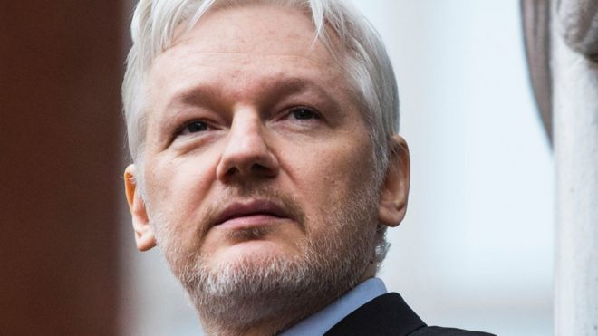 Wikileaks founder Julian Assange at the Ecuadorian embassy in central London, 5 February 2016