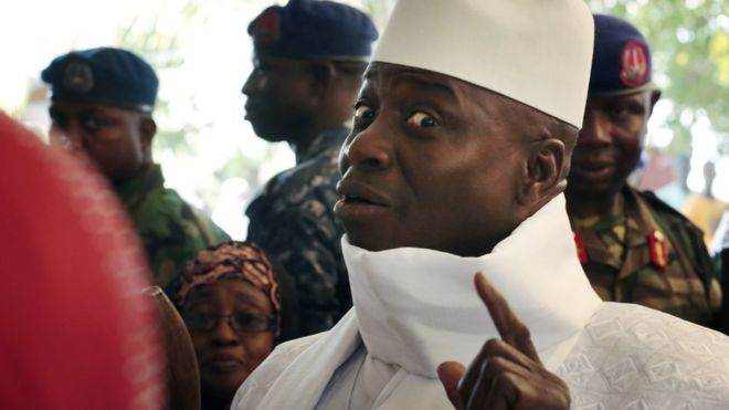 Yahya Jammeh voting in The Gambia on Thursday 1 December 2016