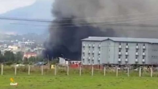 A TV station based outside Ethiopia broadcast footage of the fire