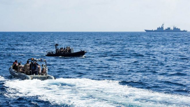 European Union Naval Force training exercise for Operation Atalanta, which has been running in Somali since 2008 to combat piracy