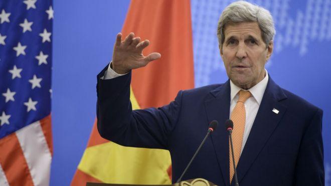 Ngoại trưởng Mỹ John Kerry khi thăm Việt Nam ngày 7/8/2015