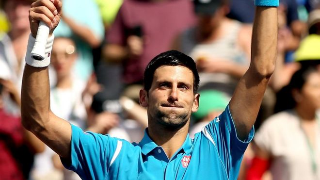 Serbian tennis player Novak Djokovic celebrates victory at the BNP Paribas Open in Indian Wells - 20 March