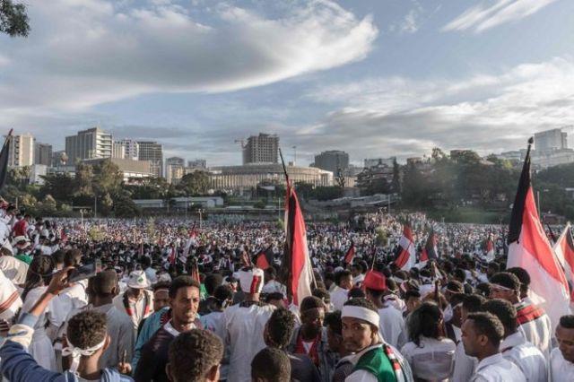 Shacab dabbaaldagga Irrecha ka soo qayb galay oo lagu qabtay fagaaraha Meskel ee Addis Ababa