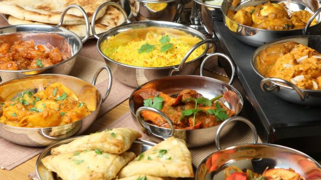 Platters of Indian food