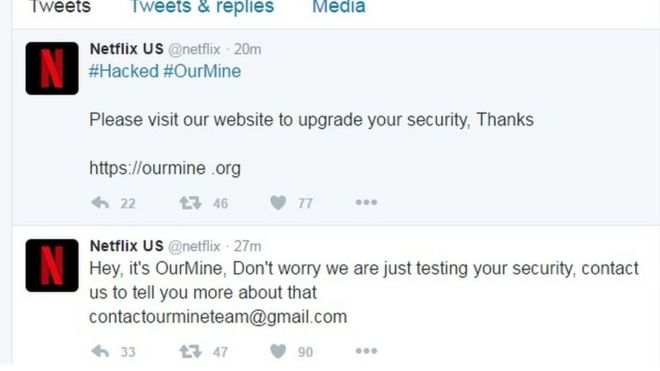 OurMine tweets on the Netflix account