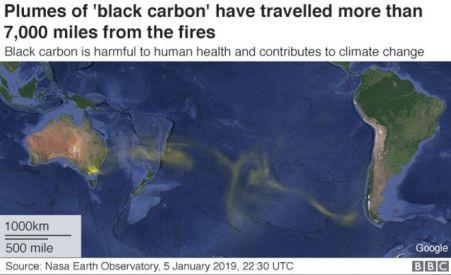 Gráfico: Propagação de carbono preto dos incêndios florestais