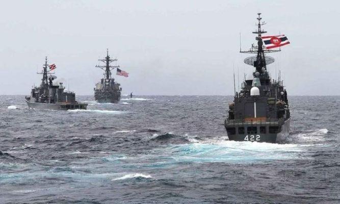 Tàu của Hoa Kỳ và Thái Lan trong cuộc tập trận hàng hải Mỹ-ASEAN kéo dài từ 2 đến 6 tháng 9, 2019 tại vịnh Thái Lan
