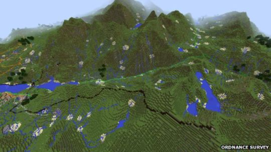 Minecraft map of the UK upgraded to include houses   BBC News Snowdonia in Minecraft GB map
