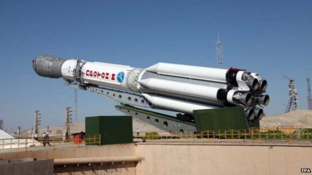 File photo: A Proton-M launch vehicle with three Glonass-M satellites onboard while being mounted on its launch pad at Baikonur cosmodrome, Kazakhstan, 28 June 2013