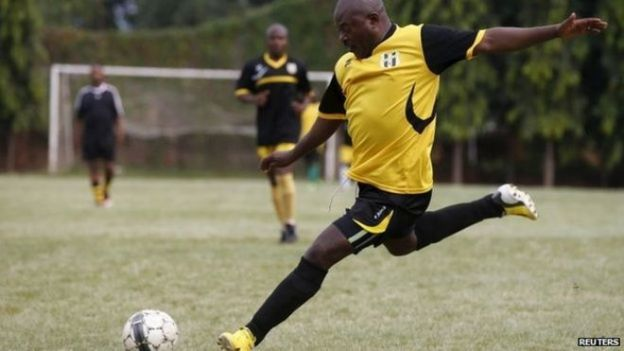 Burundi leader playing football
