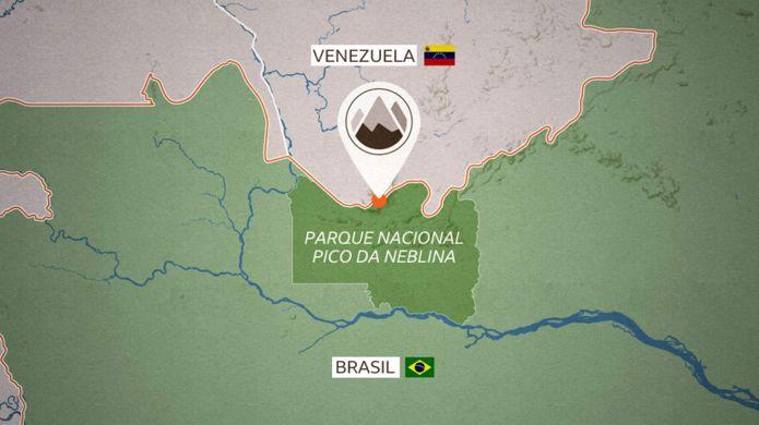 Ubicación en el mapa del Parque Nacional Pico da Neblina.