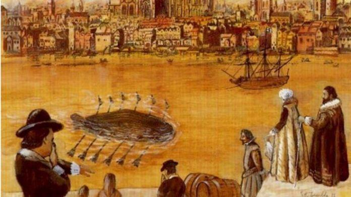 El submarino de 12 remos que maravilló a los que lo vieron, y hasta a los que no lo vieron, en el Támesis, pintado por G.H. Tweedale.