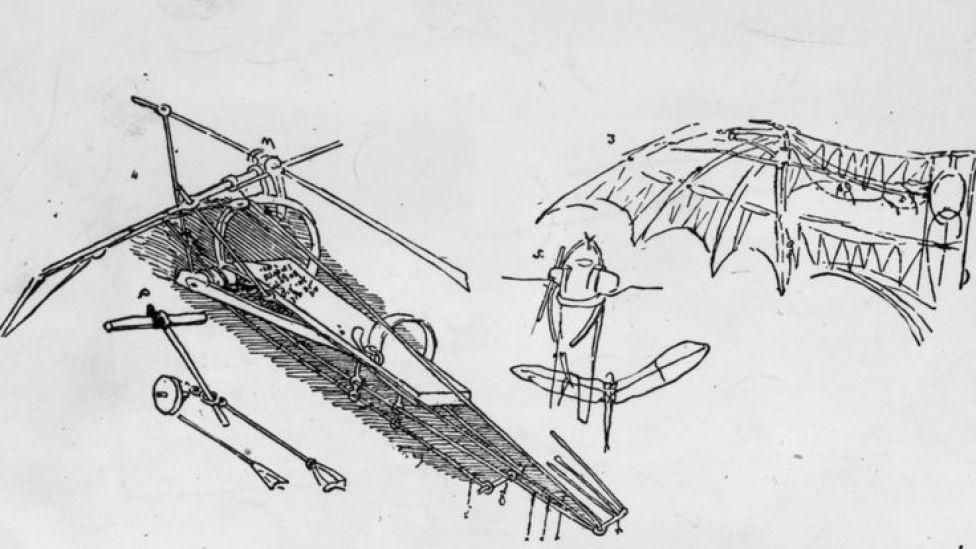 Diseño de aparato volador de Leonardo Da Vinci
