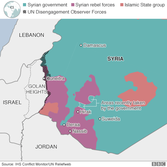 Map showing control of south-western Syria (27 June 2018)