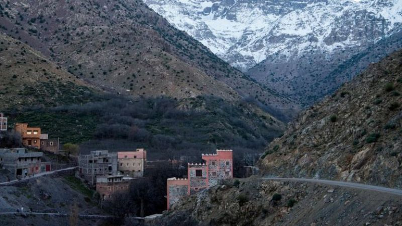 A file photo taken on December 18, 2018 shows mountains near the tourist village of Imlil in the High Atlas range