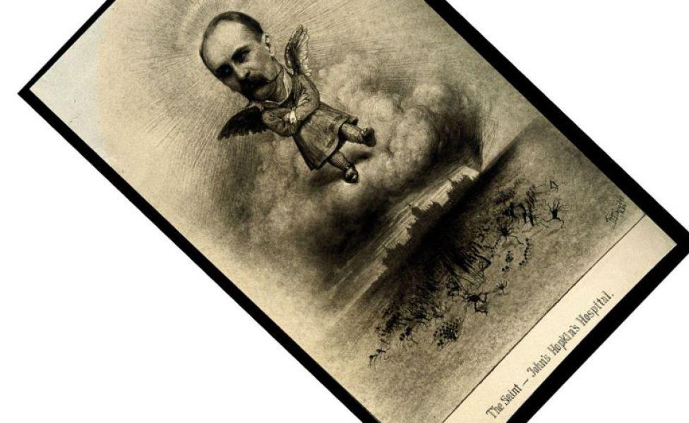 William Osler dibujado como un santo.