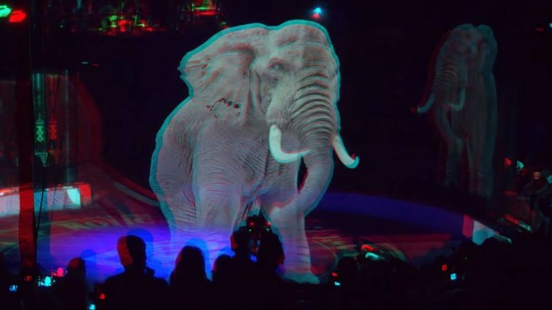 hologram gajah dari proyeksi 3d