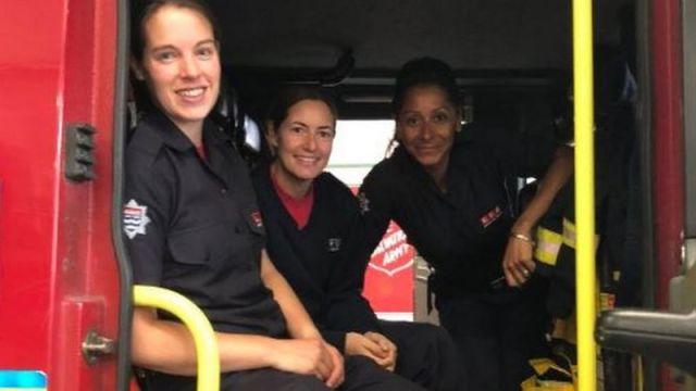 London Fire Brigade firewomen.